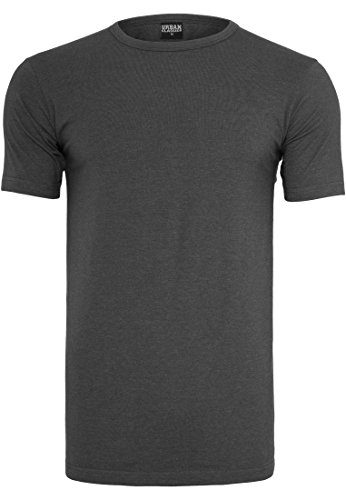 URBAN CLASSICS - Fitted Stretch Tee (charcoal), Gr. XL (Tee Stretch-baumwolle V-neck)