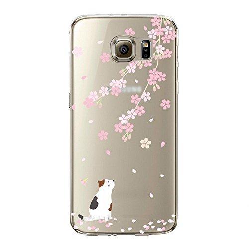 Qissy®Carino Custodia per Samsung Galaxy S6 morbida modelli femminili di marea TPU Gel Silicone Protettivo Skin Custodia per Samsung Galaxy S6 copertura del bel fiore (4)