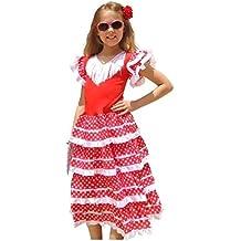 La Senorita Vestido Flamenco Español Traje de Flamenca chica/niños blanco rojo (Talla 4