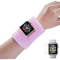 Dee Plus Muñequera Deportiva Pulsera 2 Piezas para Apple Watch Series 3/2/1 Suave Espesar algodón Wrist Bands para Fútbol, Baloncesto, Running Deportes Atléticos con Protector de Pantalla