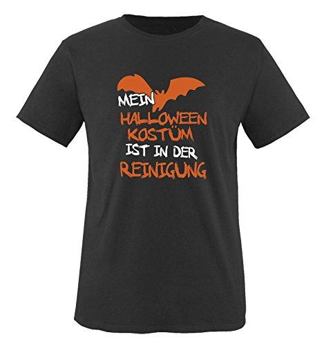 Comedy Shirts - MEIN HALLOWEEN KOSTÜM IST IN DER REINIGUNG VAMPIR - Herren T-Shirt Schwarz / Weiss-Orange Gr. (Moderne Vampire Kostüm)