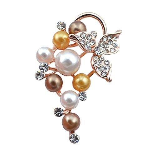 Traubenperle Brosche Abzeichen Pin Schal Schnalle Frau Schal Schnalle Mode Persönlichkeit,Color-OneSize (Importierte Kleider)