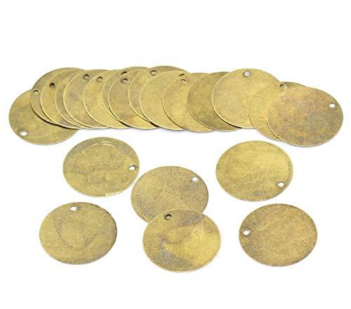 SiAura Material ® - 20x runde Leere Anhänger 20mm Bronze