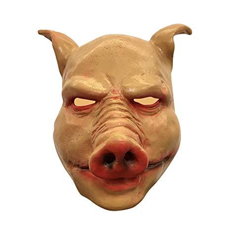Schwein Beängstigend Kostüm - WEISY Schwein Vollkopf Maske, Gruselige Halloween Maske Kostüm Party Latex Maske für Halloween
