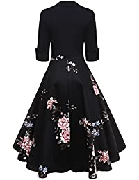 2262faa790a26 DressLily Women Swan Printed Belted Dress