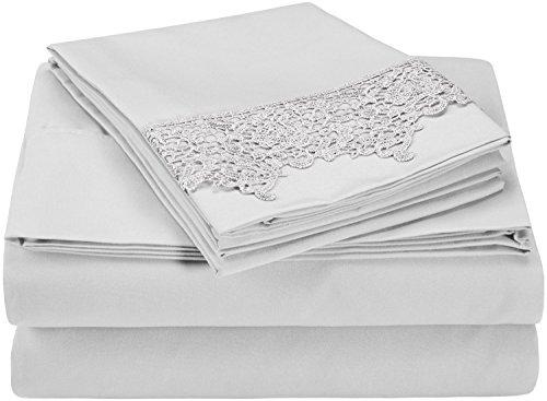 Superior - Juego de sábanas, 183 x 213 cm, suavísimas, ligeras y resistentes a las arrugas, 100 % microfibra afelpada, con fundas de almohada con puntilla real bordada, en caja para regalo, color gris, 4 piezas