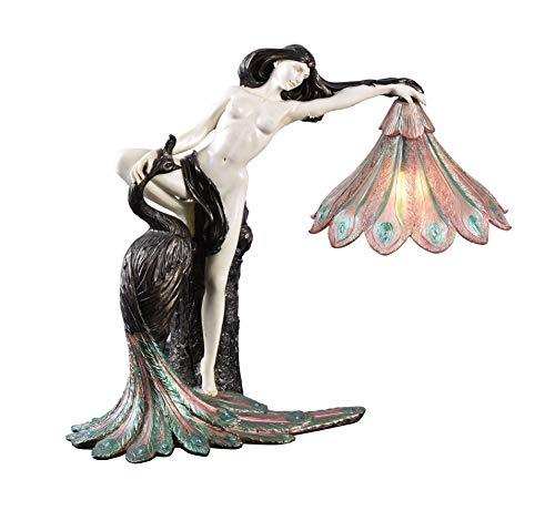 Jugendstil pur extravagante Tischlampe Dame mit Pfau IS001 Palazzo Exklusiv