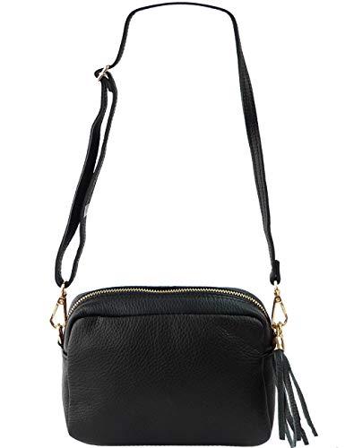 Freyday Echtleder Umhängetasche Clutch kleine Tasche Abendtasche 20x15cm (Schwarz) - Schwarz Metallic Tasche Handtasche