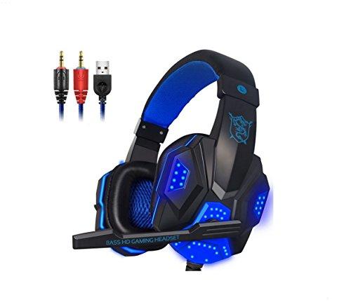 WSG Gaming Headset, Gaming Kopfhörer Noise Cancelling Headphones Bügelkopfhörer Mit Reiner Tonqualität Mikrofon 3,5Mm Klinke Für PS4 Pro/PS4 Xbox One PC Laptop Tablet Mac,Blue