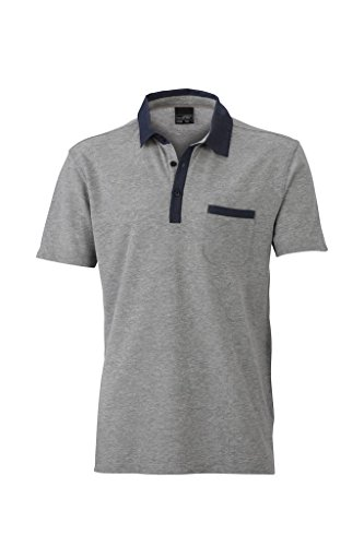 Herren Melange Piqué Polo Grey Melange/Dark Denim