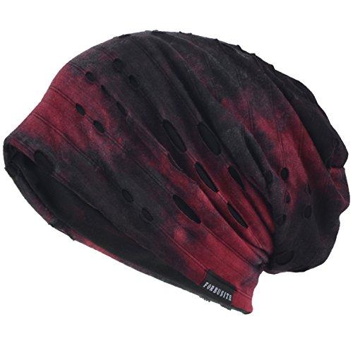 VECRY Herren Jersey Slouch Mütze Sommer Skullcap (B-Rotwein, Dünn Cool)