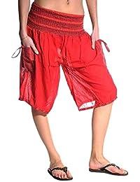 Haremshose Shorts Bermuda Jogginghose Sweathose Freizeithose Trainingshose gesmokt Varkala Damen