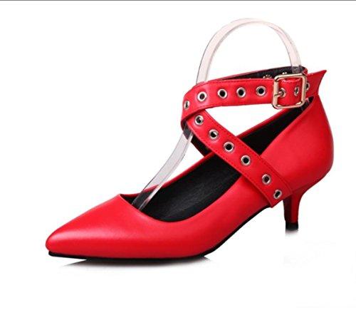 Da donna-Tacchi-Matrimonio Tempo libero Ufficio e lavoro Formale Casual Serata e festa-Altro CinturinoPU (Poliuretano)-Nero Rosa Rosso Red