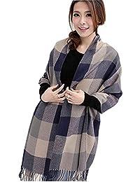 20511fc059e8 heekpek Grande Taille Femme Homme Echarpe Hiver Chaud en Cachemire  Imitation Carreaux Doux écharpe épais Pull