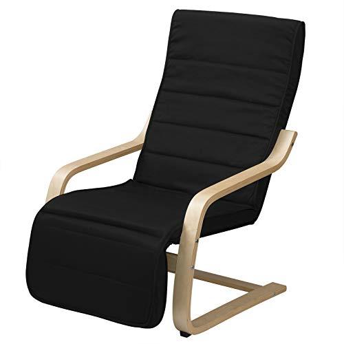 Eugad sedia nera a sdraio imbottita con poggiagambe regolabile bracciolo poltrona relax per sala balcone giardino 0020xxy