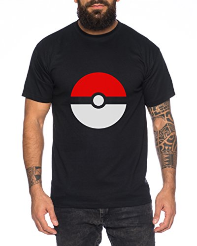 Anime Manga Cartoon Fun Nerd Pokeball Herren T-Shirt Schwarz