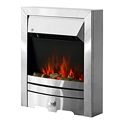 HOMCOM 2KW Stainless Steel Electric Fireplace Pebble Burning Effect Heater Fire Flame Indoor Stove LED Lighting