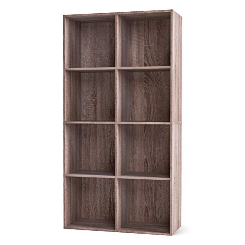 Homfa Bücherregal Regal mit 8 Fächern Raumteiler Standregal Büroregal Aktenregal Ordnerregal, dunkeleiche 65.5 * 29.6 * 128cm -