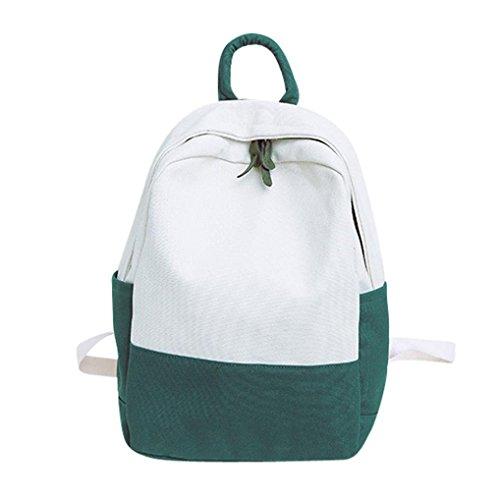 Longra☀ 2018 Venta Caliente para Las Mujeres Lienzo Hit Color Shoulder Bag Estudiante School Bag Mochilas de Viaje Mochila Camara Reflex Mochilas Escolares