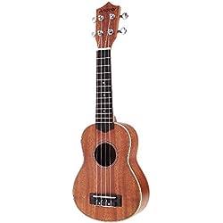 Andoer® 21 '' Compacto Ukelele Ukelele Hawaiano Caoba Aquila Rosewood Fretboard Puente Soprano Instrumento de Cuerdas 4 Cuerdas