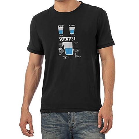 NERDO - Optimist Pessimist Scientist - Herren T-Shirt, Größe XL, schwarz (Herren Volles Logo T-shirt)