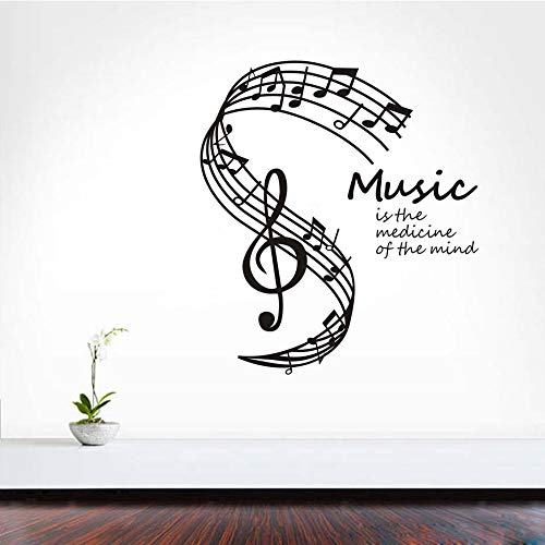 guijiumai Musik ist die Medizin des Geistes Wandaufkleber Noten Stab Wohnkultur Wohnzimmer Wandtattoos Schlafzimmer Wohnheim grau 42X50 cm