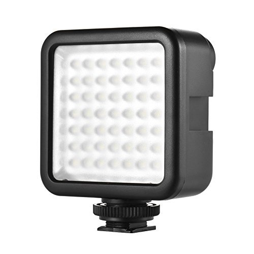 Andoer 49 Led Video Light, LED Mini Interlock Kameralicht, LED Panel Licht, Dimmbare Camcorder Video Beleuchtung mit Shoe Mount Adapter für Canon Nikon Sony A7 DSLR - Dslr Led-panel,