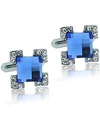 Meenaz Men Jewellery Valentine Gifts Silver Blue Shirts Blazer Cufflinks Set For Men Boys Boyfriend Husband With...
