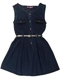 POPCORN Girls' A-Line Dress (Blue, 4-5 Years)