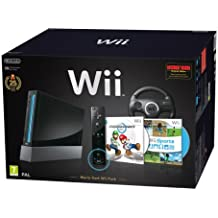 Nintendo Wii Console (Black) with Wii Sports + Mario Kart and Black Wii Wheel + Motion Plus Controller (Wii)
