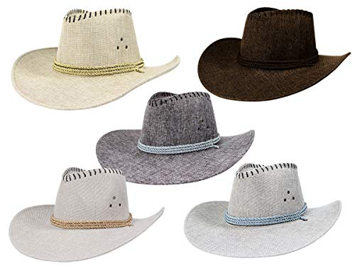 Alsino 5 Stück Unisex Cowboyhut Texas Westernhut in One Size Größe mit Kordel 5er - Revolverheld Cowboy Kostüm Für Erwachsene