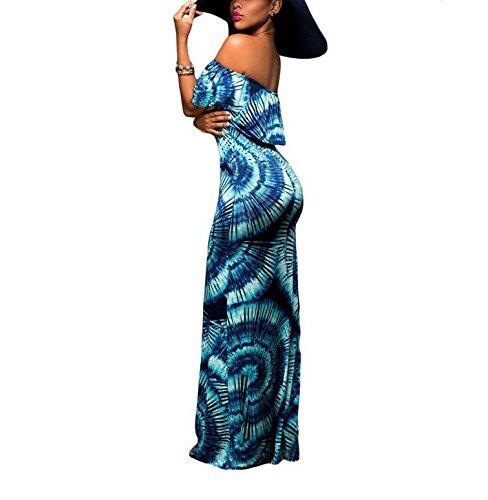 PU&PU Décontracté Femmes / Rose Rose / Impression Floral Flouncing dentelle épaule Maxi Robe Deep Blue