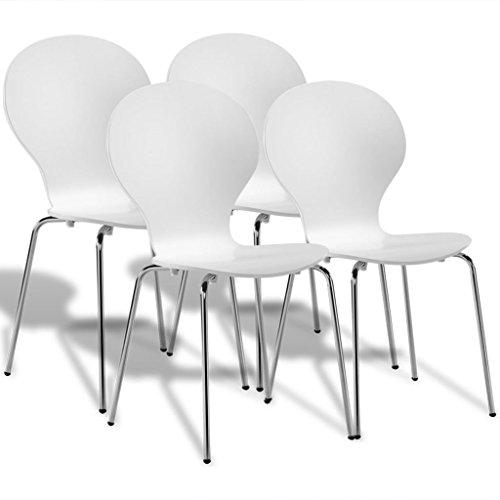 Vidaxl 4x sedie da pranzo in metallo impilabili a farfalla bianche seggiole