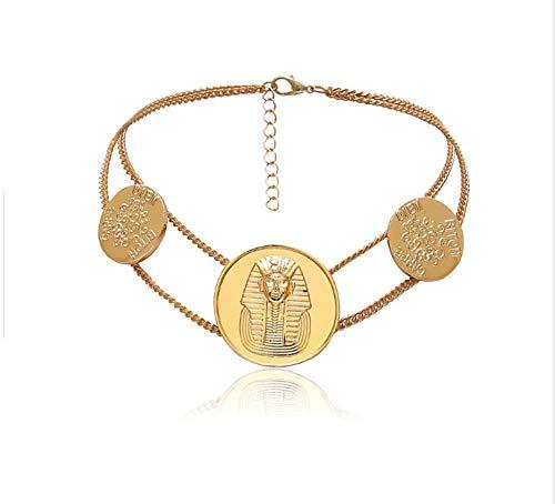 XZZZBXL Damen Halskette Ägyptischen Pharao Choker Halskette Frauen Vintage Antique Gold Ägypten Totem Halskette Legierung Modeschmuck