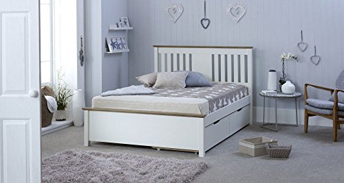 Happy Beds Chester Wooden Bed White and Oak with 2 Underbed Storage Drawers and Orthopaedic Mattress 4'6'' Double 135 x 190 cm