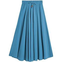 DEBAIJIA Easy Chic Falda Mujer Maxi Algodón Verano Playa Casual Casa Clásica Moda Vintage Plisada Cintura Elástica Azul-L