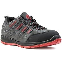 Earth Works Safety - Zapato de seguridad, acordonado, gris y rojo, para hombre EarthWorks