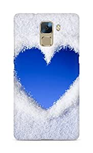 AMEZ Blue Love Heart Of Snow Back Cover For Huawei Honor 7