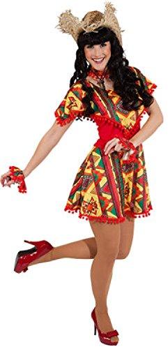 Cowboy Bandit Kostüm - W9426-38-40 rot-bunt Damen Mexico Kleid Mexikaner Kostüm Gr.38-40