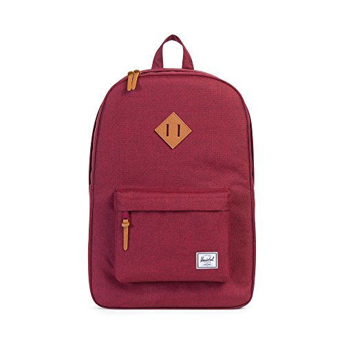 Herschel Supply Co. Heritage Sac à dos, Winetasting Crosshatch/Tan Synthetic Leather (rouge) - 10007-01158-OS