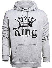 Pareja Impresión Corona King & Queen Sudaderas con Capucha Manga Larga Jersey Camisa de Entrenamiento Hombre