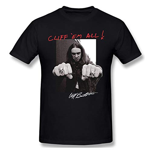 DeyAope Metallica Cliff Burton Master of Puppets Herren Weich T-Shirt Black 5XL (Puppet Master Kostüm)