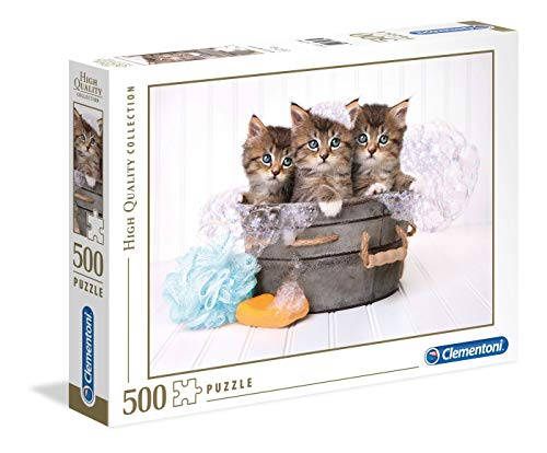 Clementoni Collection Puzzle-Kittens and soap-500 Unidades, Multicolor, 35065