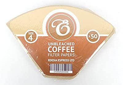 40 Size 4 Coffee Filter Paper Cones, Unbleached by EDESIA ESPRESS