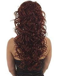 Hair By MissTresses Perruque longue bouclée Demi Perruque Extensions Guirlande, rouge