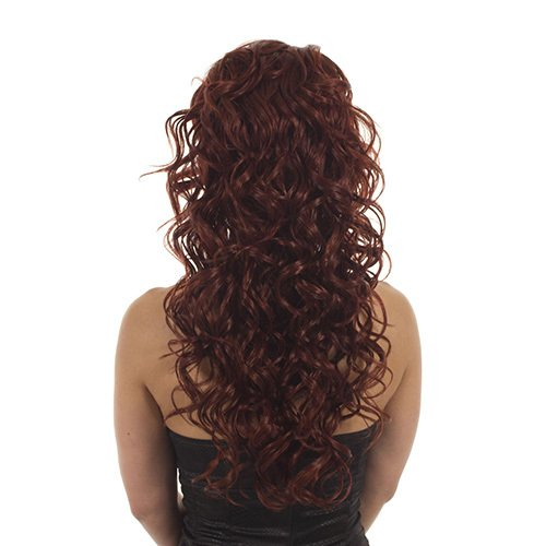 Hair By MissTresses Perruque longue bouclée Demi Perruque Extensions Guirlande, rouge