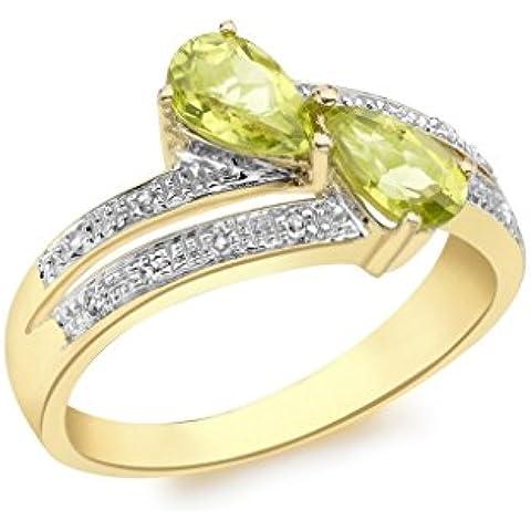 In oro giallo 9 kt con diamante e Peridot-Anello incrociato, in argento sterling