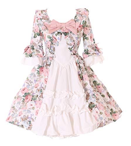 Kawaii-Story JL-666 Blumen Kleid Schleife Rüschen Vintage Viktorianisch Gothic Lolita Kostüm Cosplay (S) (Viktorianische Puppe Kostüm)