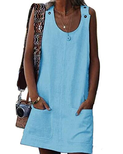 AUDATE Damen Ärmellos Leinenkleid Rundhalsausschnitt Sommerkleid Strandkleider Einfarbig Boho Tank Kleider Hellblau DE 38 Boho Tank Kleid