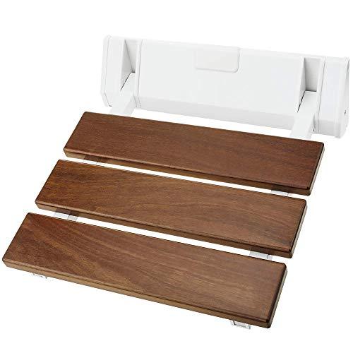 PrimeMatik - Sedile per Doccia Pieghevole. Sgabello per Anziani in Legno Tropicale e Alluminio 320x328mm